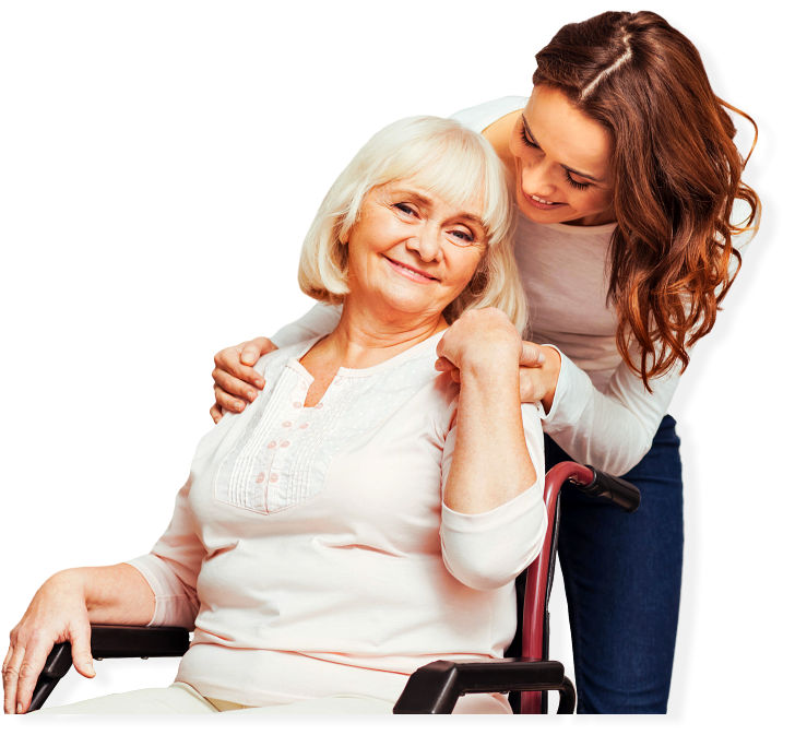 happy elder woman with her caregiver