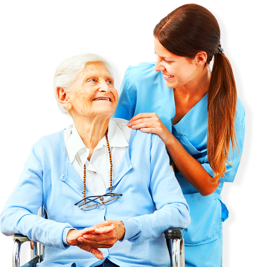 elder woman and her caregiver